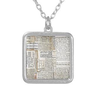 Vintage Paper Scraps - Vertical Square Pendant Necklace