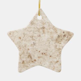 Vintage paper texture bugged ceramic star decoration