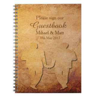 Vintage Paper Texture Guestbook for a Gay Wedding Notebook