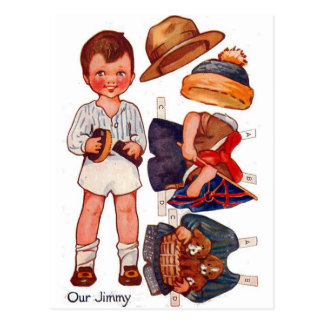 Vintage Paperdoll Little Boy Jimmy Postcard