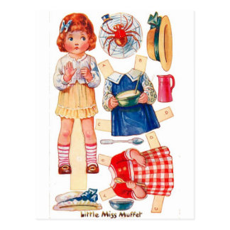 Vintage Paperdoll Little Miss Muffet postcard