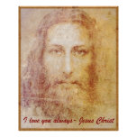 Vintage papyrus portrait of Jesus Christ healing Poster