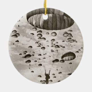 Vintage Paratrooper in the Sky Round Ceramic Decoration