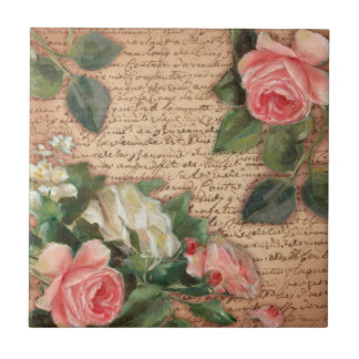 Vintage parchment and shabby chic Roses Small Square Tile