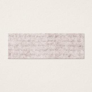 Vintage Parchment Antique Text Template Blank Mini Business Card
