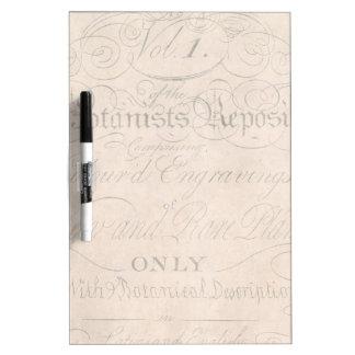 Vintage Parchment Botanical Script 1700s Template Dry Erase Board