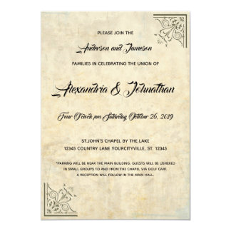 Vintage Parchment Gold Faux Finish Wedding Invites