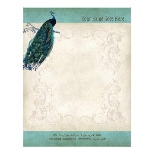 Vintage Parchment Peacock Letterhead Resume Paper Flyers