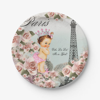 Vintage Paris Baby Shower 7 Inch Paper Plate