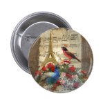 Vintage Paris & bird music sheet collage Pins