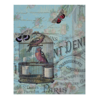 Vintage Paris Birdcage butterfly decoupage style Poster