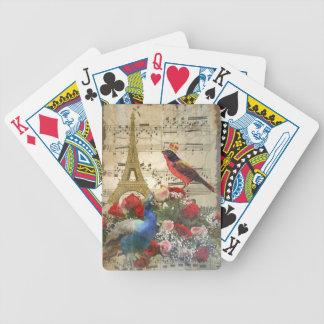 Vintage Paris & birds music sheet collage Bicycle Playing Cards