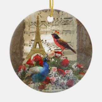 Vintage Paris & birds music sheet collage Christmas Ornament