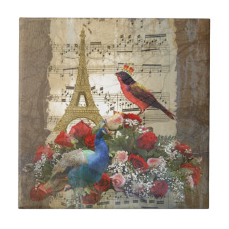 Vintage Paris & birds music sheet collage Tile