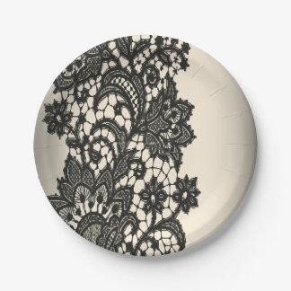 Vintage paris  black Lace wedding 7 Inch Paper Plate