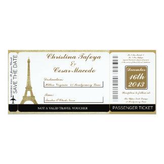 Vintage Paris Boarding Pass Wedding Invitation