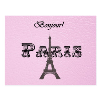 Vintage  Paris Bonjour Eiffel Tower Postcard
