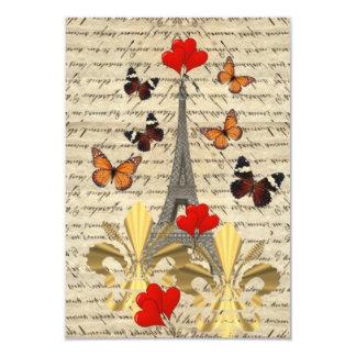 Vintage Paris & butterflies 9 Cm X 13 Cm Invitation Card