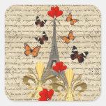 Vintage Paris & butterflies Square Stickers