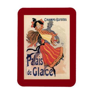 Vintage Paris Champs Elysées ice skating Rectangular Photo Magnet