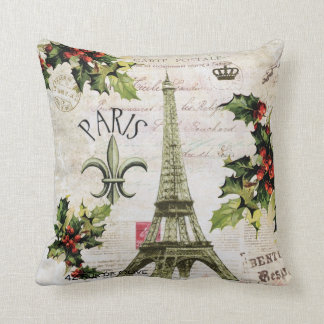 Vintage Paris Christmas Eiffel tower pillow