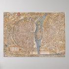 Vintage Paris city map, 1550 Poster
