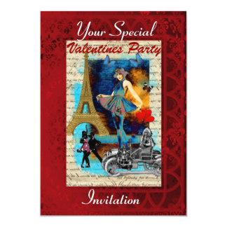 Vintage Paris collage Valentines party 13 Cm X 18 Cm Invitation Card