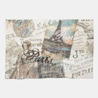 Vintage Paris decoupage Landmarks typography Tea Towel
