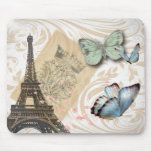 Vintage Paris Effiel Tower Butterfly Fashion Mouse Pad
