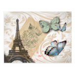 Vintage Paris Effiel Tower Butterfly Fashion Post Card