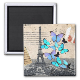 vintage  Paris Effiel Tower Butterfly  fashion Square Magnet