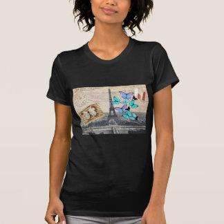 vintage  Paris Effiel Tower Butterfly  fashion T Shirts