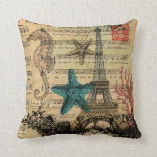 vintage paris eiffel tower beach seashell cushion