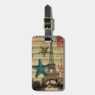 vintage paris eiffel tower beach seashell luggage tag
