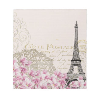 Vintage Paris Eiffel Tower Floral Art Illustration Notepad
