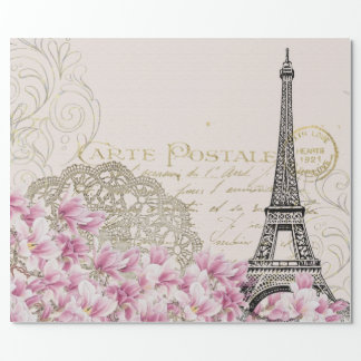 Vintage Paris Eiffel Tower Floral Art Illustration Wrapping Paper