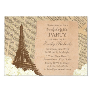 Vintage Paris Eiffel Tower Floral Bachelorette Card