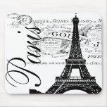 Vintage Paris & Eiffel Tower Label Mousemats