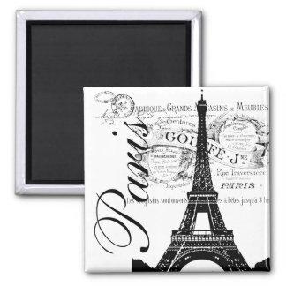 Vintage Paris & Eiffel Tower Label Square Magnet