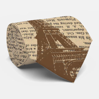 Vintage Paris Eiffel Tower Old Newspaper Tie