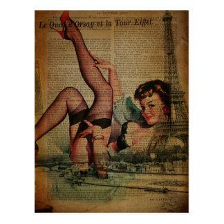 Vintage Paris Eiffel Tower pin up girl Postcard