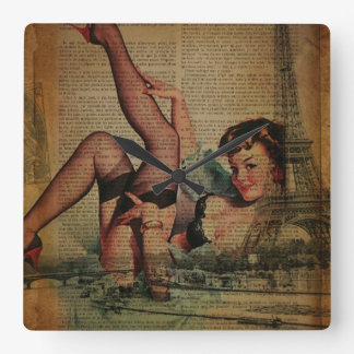 Vintage Paris Eiffel Tower pin up girl Square Wall Clock