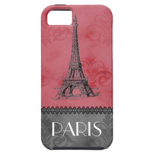 Vintage Paris Eiffel Tower Pink Grey Case