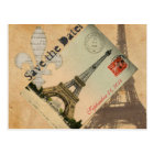 Vintage Paris Eiffel Tower Postcard save the date