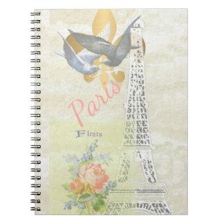 Vintage Paris Eiffel Tower Romantic Collage Notebook