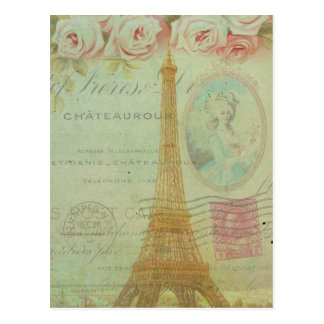 Vintage Paris Eiffel Tower Roses French Inspired Postcard