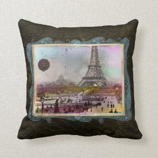 Vintage Paris Eiffel Tower Scene Custom Pillow