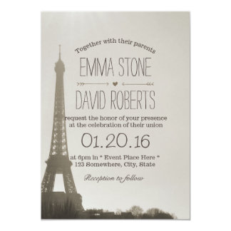 Vintage Paris Eiffel Tower Wedding Card