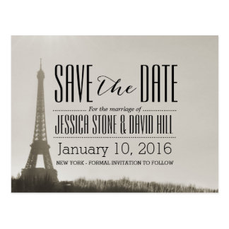Vintage Paris Eiffel Tower Wedding Save the Date Postcard