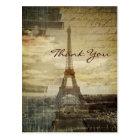 vintage Paris Eiffel Tower Wedding thank you Postcard